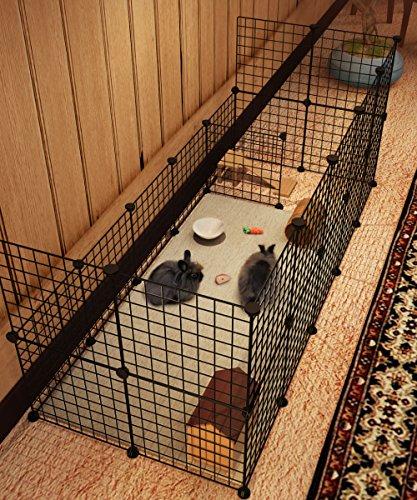 Koossy Stahlgitter Freigehege erweiterbarer Auslauf für Kleintiere