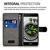 kwmobile Hülle für Huawei Nova - Wallet Case Handy Schutzhülle Kunstleder - Handycover Klapphülle mit Kartenfach und Ständer Grau Schwarz -