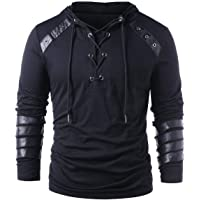 Men Gothic Steampunk Drawcord Lace up Hoodie Medieval Knight Long Sleeve Stitching Leather Armor Sweatshirt Pullover…