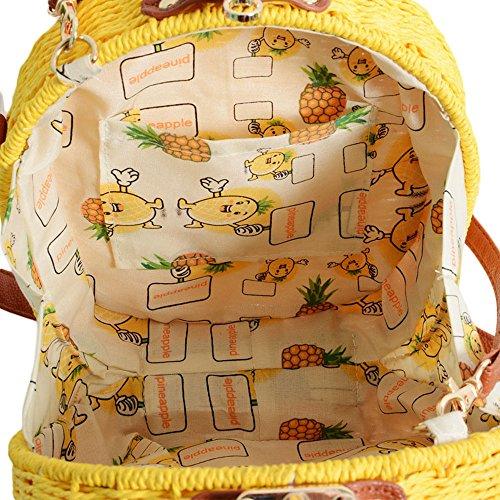 5 ALL Été Sac à Bandoulière en Paille Ananas de Mode Sac de Plage Mini Sac à Main de Loisir Sac Portés Main pour Fille Beige
