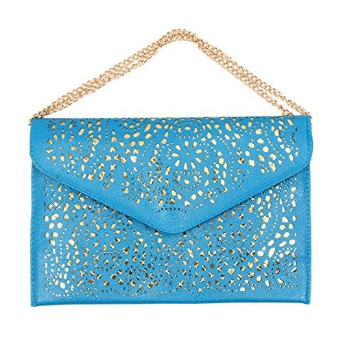 TOOGOO(R) donne Trend della borsa del ritaglio della spalla della busta nazionali Vintage frizione giorno sacchetto Borsello - blu blu