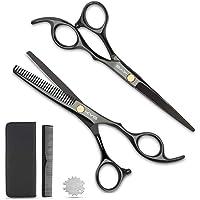 KYG Set 2 Ciseaux Coiffure 6 Pouces Professionnels et de Coupe de Cheveux Amincissement en Acier Inoxydable Désépaissir…
