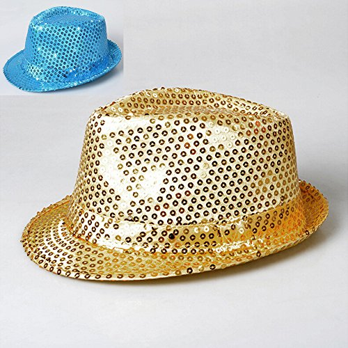 Zqmd Jazz-Hut, Tanz-Dress Up Requisiten LED-Licht ca LED, blinkende Sequined Hut, blinkende Sequin Fedora Hut Party Neuheit Kostüm Jazz Caps-Color zufällig