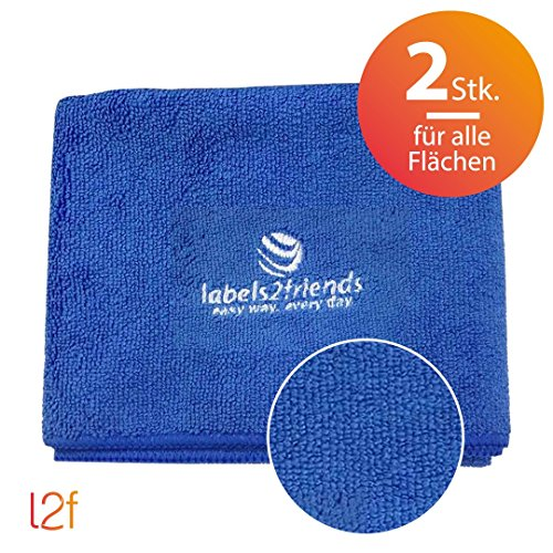 6. Labels2friends Microfaser Tücher Clean2clean (2 Teilig) | 2 X  Mikrofasertücher, Blau (40 X 60 Cm) Für Alle Flächen (Auto, Heimwerken, Garten,  Küche, Bad)