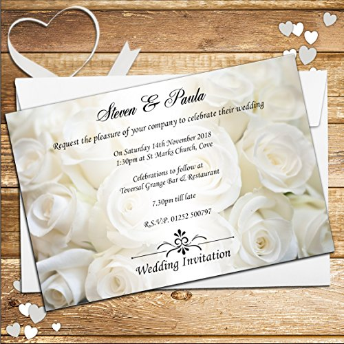 Wedding invitations with rsvp amazon 10 personalised white rose wedding invitations n50 stopboris Image collections