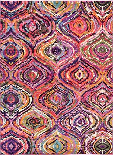 Moderno astratto tribale Barcelona contemporaneo tappeto, Polipropilene, Multi, 8 x 11