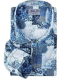 XXL Signum Langarmhemd in Patchworkoptik blau