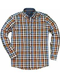 XXL Casamoda Hemd in Übergröße | blau orange kariert
