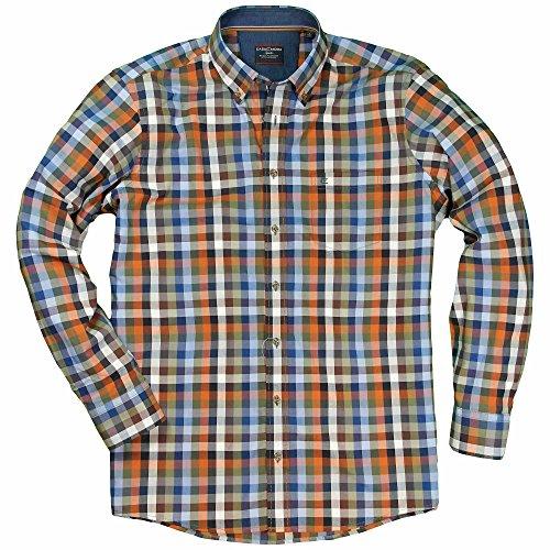 XXL Casamoda Hemd in Übergröße | blau orange kariert Orange