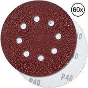 PRETEX SC-161, PRETEX 60 Klett-Schleifscheiben für Exzenter-Schleifer 8 Loch, Ø 125 mm (je 10 Stück mit den Körnungen 40/60/80/120/180/240) | Schleifpapier, Schleifblätter (Heimwerken)