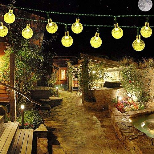 Solar Lichterkette, ELINKUME 6M 30LED Solar Garten Lichterkette Außen sbeleuchtung Kristall Kugel Dekorative Beleuchtung für Fest, Halloween, Hochzeiten, Feiern, Weihnachten - Warmweiß
