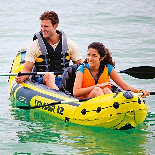 61eMKsyyihL. SS500  - Intex Explorer K2 Kayak, 2-Person Inflatable Kayak Set with Aluminum Oars and High Output Air Pump
