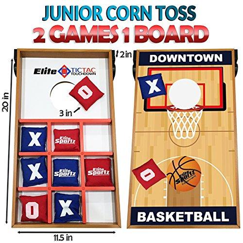 Elite Sportz Junior Bean Bag Toss Spiel - 2 Spiele On 1 Board, können Sie Spielen Kids Cornhole Toss oder einfach nur Flip-It Over und Spielen Tic Tac Toe (Boards Bean Toss Bag)