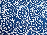 #8: Handicraftofpinkcity Hand Block Print Blue Indigo Dye Cotton Bagru Print Indigo Dabu Print Fabric Natural Dye Indigo Blue Cotton Fabric 5 Meter