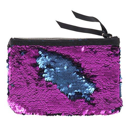 Freebily Damen Clutch Pailletten Abendtasche glänzende Frauen Handtasche Handgelenktasche mit Pailletten Lavender & Blau