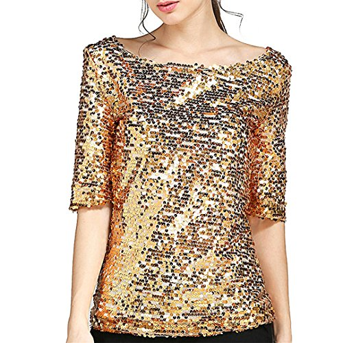 51bc282f3b8411 90S Women  s Sequin Sparkly Blouse Half Sleeve T-Shirt Casual Wide Collar  Tops