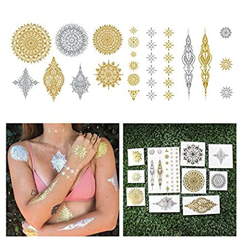 Tattify Metallic Intricate Mandala Temporary Tattoos - Lose Yourself (Set of 18 Tattoos) - High Quality and Fashionable Silver and Gold Removable Fake Temporary Tattoos