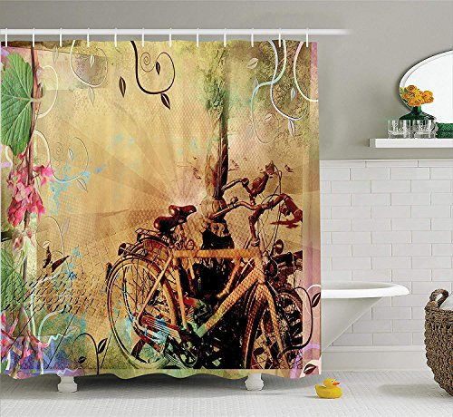 Bicycle Decor Shower Curtain Set, Double Exposure Image of Bikes in an Urban Street with Retro Swirling Floral Backdrop Effects Bathroom Accessories, Beige,66x72 inches -