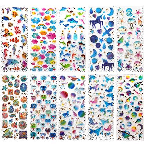 fkleber für Kinder Mädchen 3D Geschwollen Stickers für Bullet Journal Scrapbook Planer Muschel / Herz / Blumen / Süßigkeiten / Wolken / Taube / Driftflaschen / Unicorn Castle / Wal ()