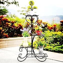 Malayas Étagère à Fleurs Fer Forgé Porte Plante de 4 Niveaux Support de Pot de Fleurs pour Jardin Balcon Terrasse 80 x50x 25cm - Charge Max 40kg