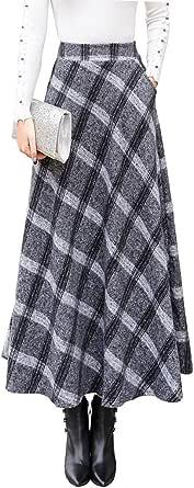 RIZ-ZOAWD Gonne Lunga Invernale Donna Lana Caldo Elegante Quadri Vita Elastica Midi Maxi Gonna Plissettata Svasata Vita Alta Gonne