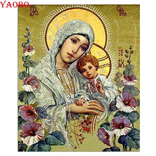 DIOPN 5D - Broca redonda de diamante para cuadro de punto de cruz, diseño de Virgen María y Niños, 40 x 50 cm