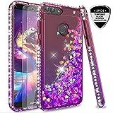 LeYi Custodia Huawei P Smart/Enjoy 7S Glitter Cover con Vetro Temperato [2 Pack],Brillantini Diamond Silicone Sabbie Mobili Bumper Case per Custodie Huawei P Smart Donna ZX Pink Purple Gradient