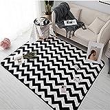 Home - Carpet ZWD Streifen-Teppich, Rechteck-Schwarz-Weiß-Geometrie-prägnantes Fußmatte-Sofa-Schlafzimmer-Wohnzimmer-Bettdecke-einfache saubere Teppich-Länge 45-120 cm Haushaltswaren
