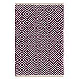 Fair Trade Diamond Weave 100% Baumwolle Handwebteppich mit genähter Kante 60x90cm, baumwolle, violett, 60 x 90cm