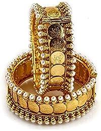 Quail Temple Jewellery 1G Gold Plated Coin Laxmi Ji Bangle Bracelet Set For Women