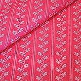 Trachtenstoff Meterware aus Baumwolle - pink mit weißen