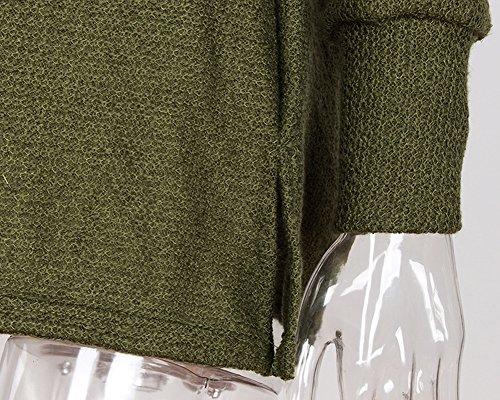 Donne Classico V Collo Maglione a Maniche Lunghe Casual Maglione Oversize Jumper Verde
