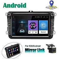 CAMECHO Autoradio Android pour VW Navigation GPS 8'' Écran Tactile capacitif Bluetooth Auto Radio Lecteur de Voiture stéréo WiFi FM Récepteur Double USB pour Golf Touran Jetta Siège Polo