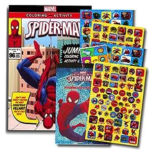 marvel spiderman coloring book with over 270 spiderman stickers bonus superhero - Marvel Coloring Book