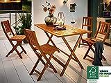 SAM® Salon de jardin Costas, 5 pièces, en bois d'acacia, 1 x table + 4 x chaises pliantes, huilé, ensemble de meubles de balcon, certifié FSC® 100%