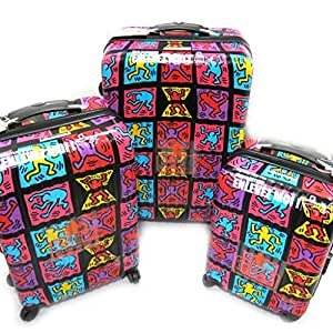 Keith Haring [L5504] - Set de 3 valises trolley ABS 'Keith Haring' tutti frutti (51/61/71 cm)