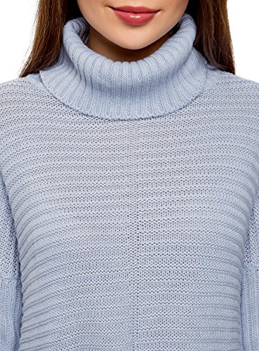 oodji Ultra Damen Lässiger Pullover im Strukturstrick Blau (7000N)