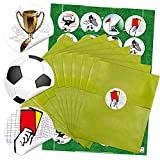 24 grüne Papier-Tüten Partytüten Mitgebsel Geburtstagstüten 13 x 18 cm und 24 runde Aufkleber mit 6 verschieden Fußball-Motiven für Fußballer und Fans 4 cm als Verpackung für Gastgeschenke