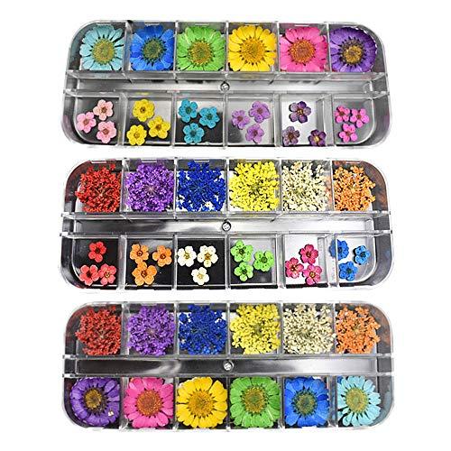 LINVINC Nail Art Sticker Getrocknete Blumen - 3D Nageldesign Aufkleber Maniküre Trocken Blumen für Frauen Hochzeit Valentinstag DIY Design,84 Stück Blumen -