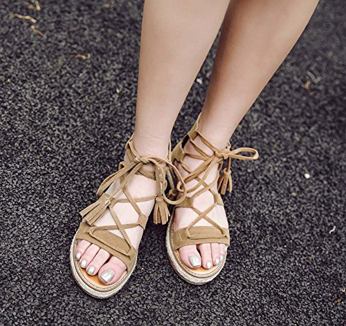 L&Y Donna pompe aperte per le donne 2017 Summer Sandali con cinghia traversa Flat Flat Fringed Scarpe Romane Large Size Flat Flat Shoes Giallo
