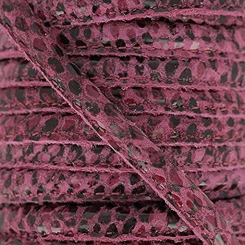 Cordón de cuero con puntadas vistas 4 mm Serpiente Fuchsia x1
