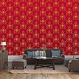 Fototapete Barock Rot Muster Vlies Tapete Wandtapete - Tapete - Moderne Wanddeko - Wandbilder - Fotogeschenke - Wand Dekoration wandmotiv24 Größe: M 250 x 175 cm - 5 Teile - Vlies