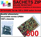 lot de 500 Sachets 50 x 70 mm fermeture zip Transparent. Sachet fermeture zip 5 x 7 cm 50u sac plastique compatible alimentaire et congélation de marque UNIVERS GRAPHIQUE REF UGS02-500 - facture avec tva déductible