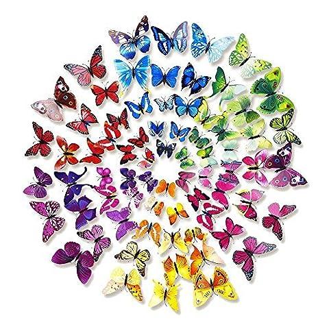 Forepin® 72 Pièces 3D Papillons Artificiel Décoratifs Sticker Mural Magnétique Papillon Motif Chambre Aimants Décor Réfrigérateur Frigo Maison Décoration Murale avec Aimant de Fixation et Bâton de Colle - Vif Couleur Papillons