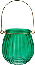 Living Essence-Marvela Colored Glass Candle Holder Emerald (Length : 9 Cms ; Bredth : 9 Cms ; Height : 9 Cms) by HomeTown