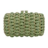 Bonjanvye Kiss Lock Studded Clutch with Crystal Rhinestone Evening Bag Green