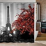 Duschvorhang, 72 x 72 Zoll wasserdicht grau Paris Eiffelturm kundenspezifische Badezimmer Duschvorhang - Stadtbild rote Blume Polyester Stoff mit 12 Haken (Eiffelturm)