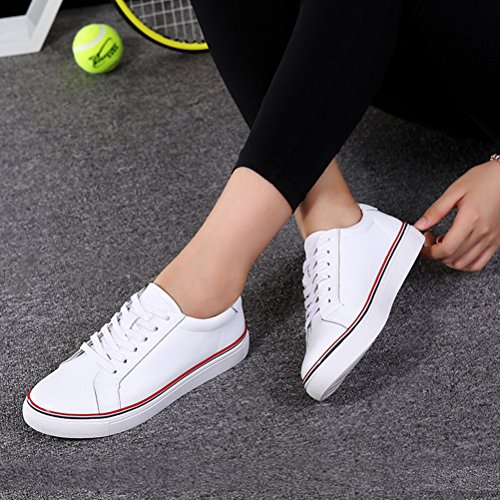 Damen Herbst Lässige Runde Zehen Schnürsenkel Plattform Outdoor Bequeme Flache Weiche Sportliche Halbschuhe Weiß