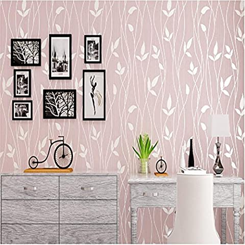 CLOERE Garden series, simple leaves and stripes nonwoven wallpaper and wall decorations , pink