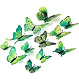 Xtore 3D Home Decor 3D Plastic Build Beautiful Butterfly Decor Item Comes with Sticking Pad, (Flora Green, Standard, 12 Piece